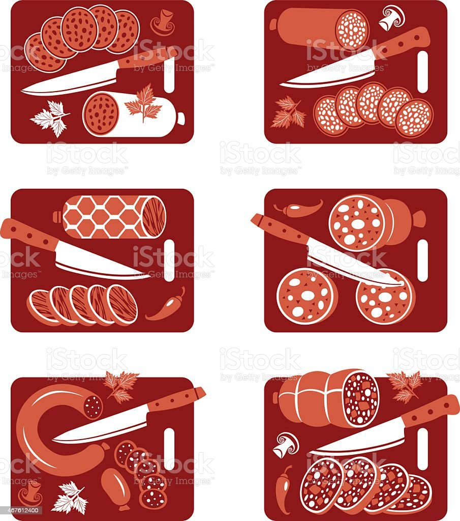 Sausage icon set vector art illustration