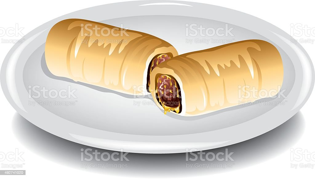 Sausage kolache vector art illustration