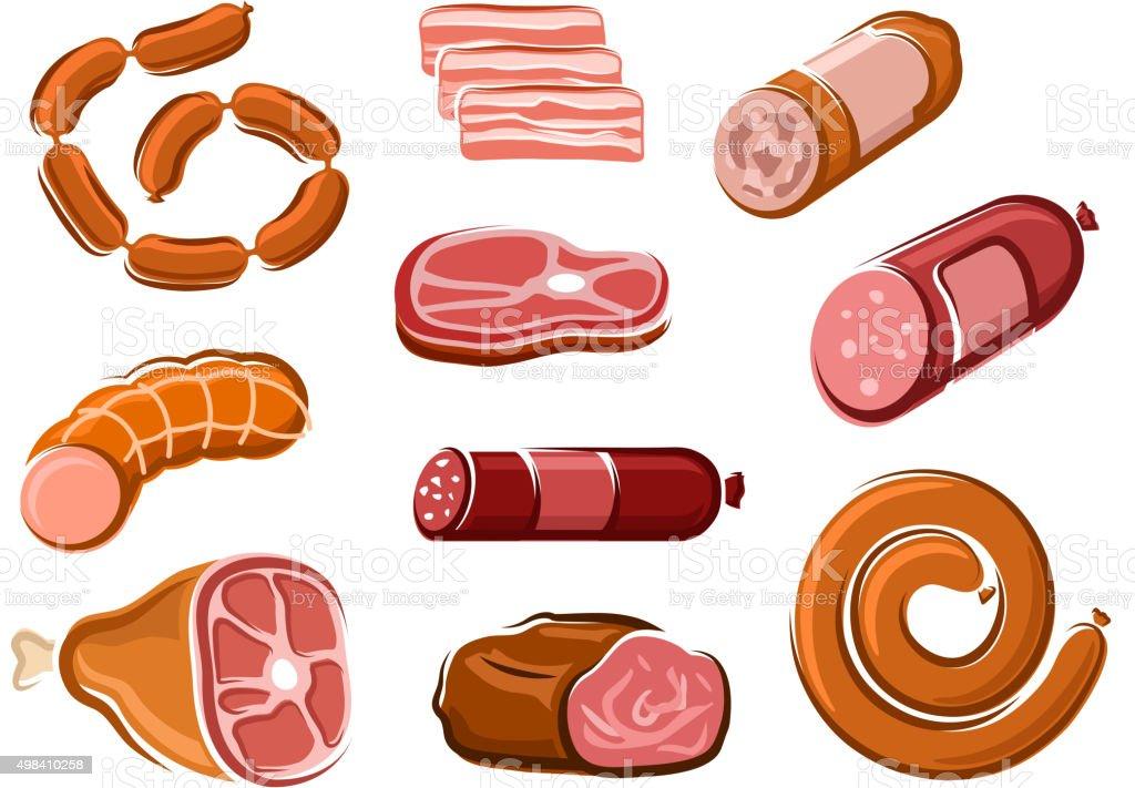 Sausages, ham, bacon, roast beef and steak vector art illustration