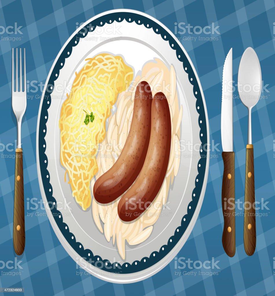 Sausages, Spaetzle and Sauerkraut royalty-free stock vector art