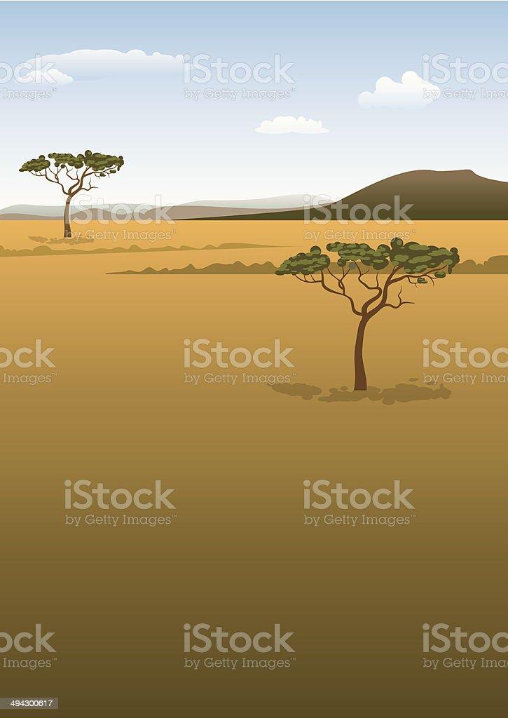 Savanna landscape vector art illustration