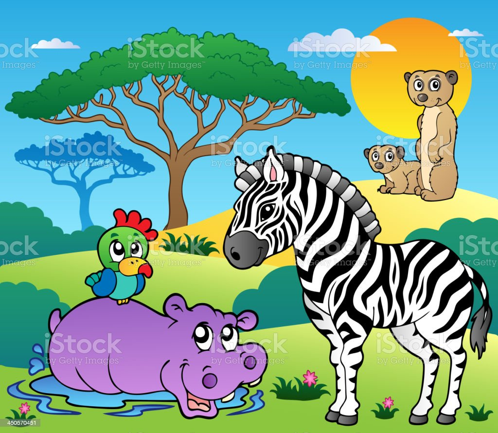 Savannah scenery with animals 4 royalty-free stock vector art