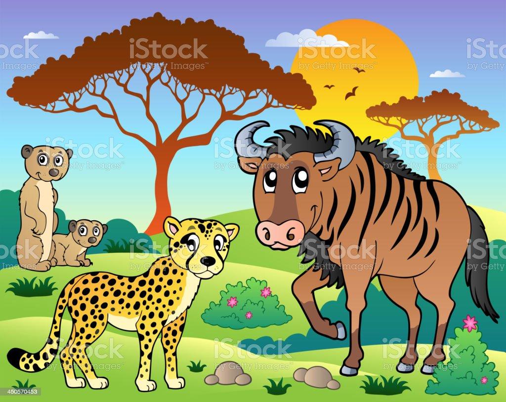 Savannah scenery with animals 5 royalty-free stock vector art