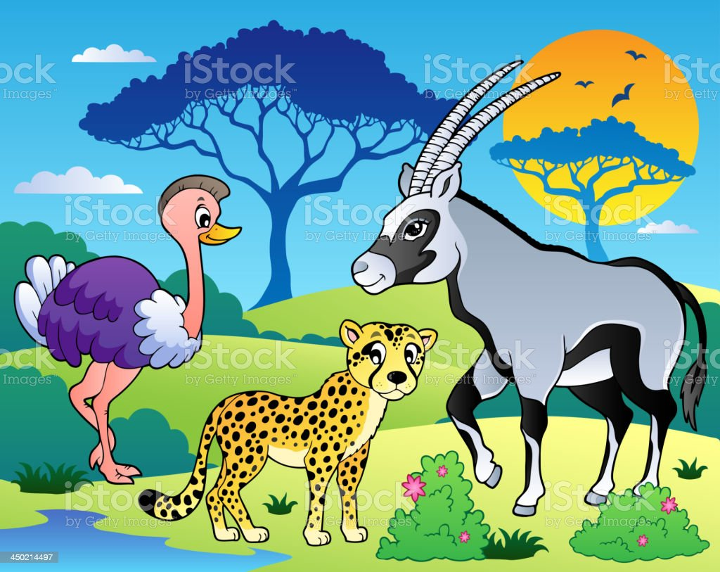 Savannah scenery with animals 7 royalty-free stock vector art