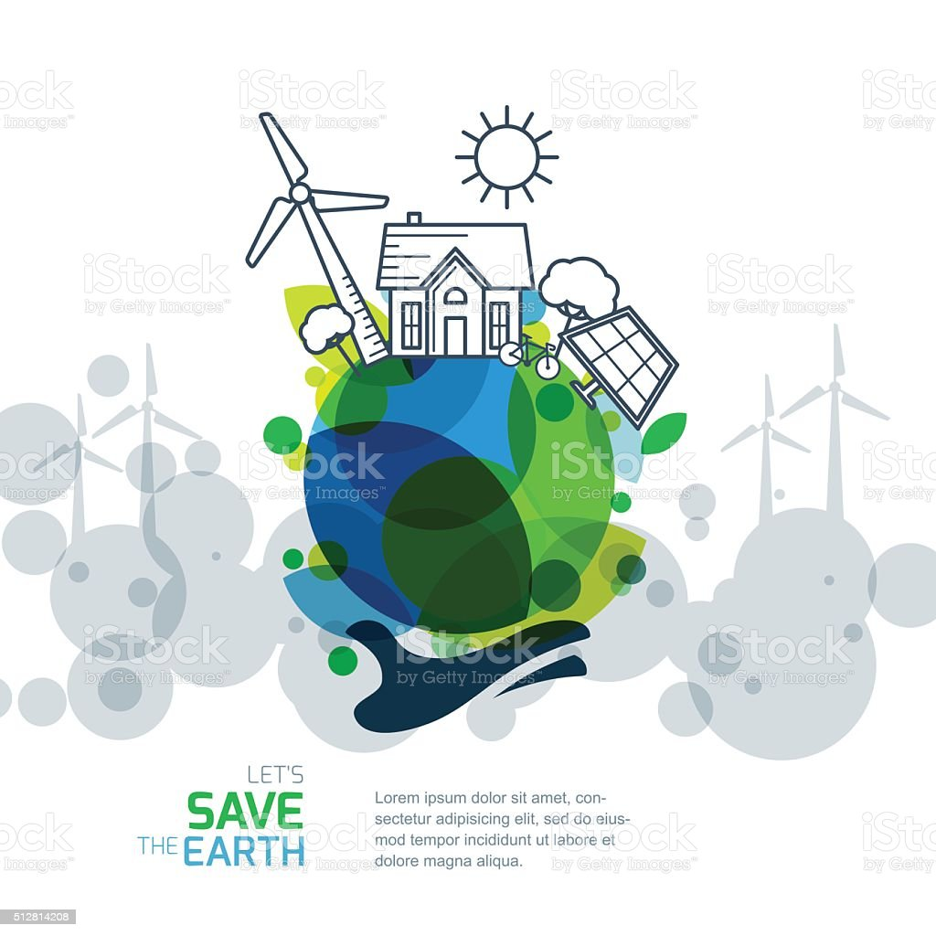 Save earth day. Environmental, ecology, nature protection and pollution concept. vector art illustration