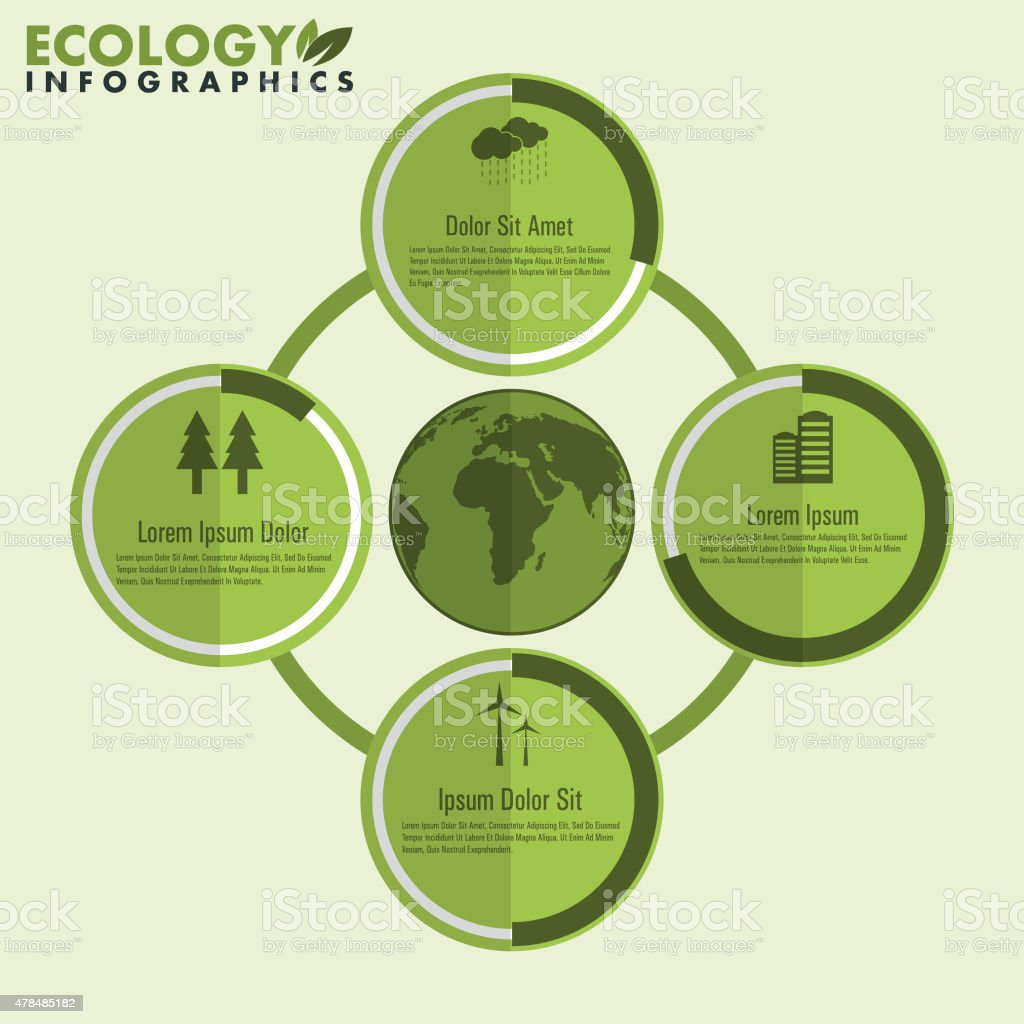 Save ecological infographic icons. vector art illustration