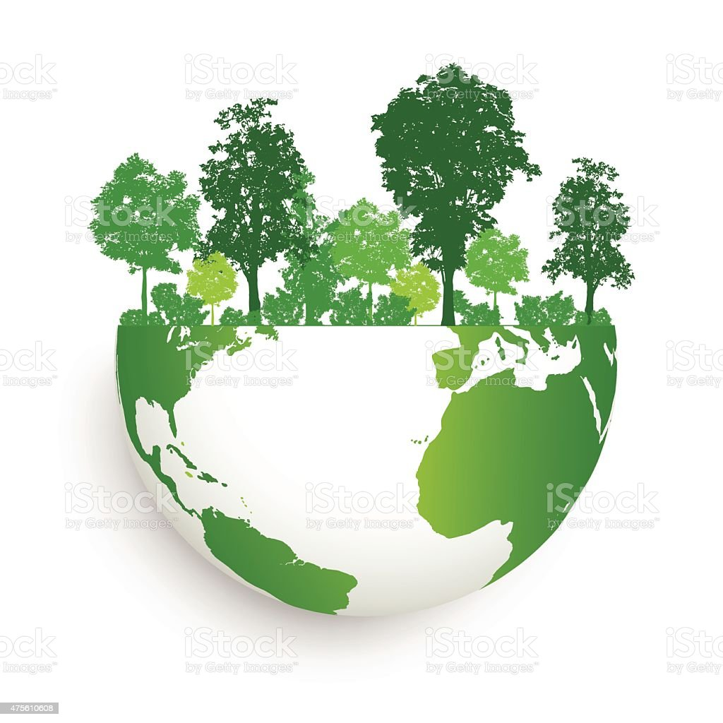 Save energy with green earth ans forest abstract vector art illustration