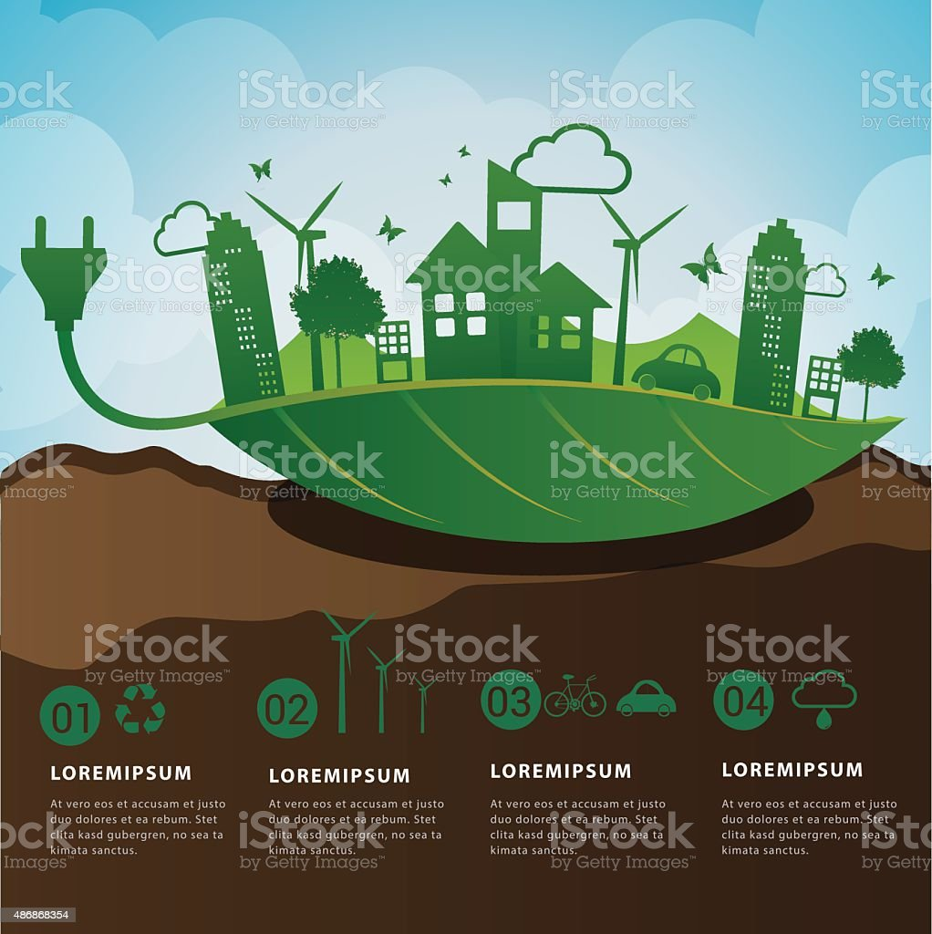 Save friendly eco power concept infographic. vector art illustration
