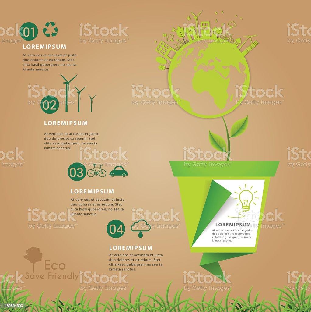 Save friendly eco power concept infogrpaihc. vector art illustration