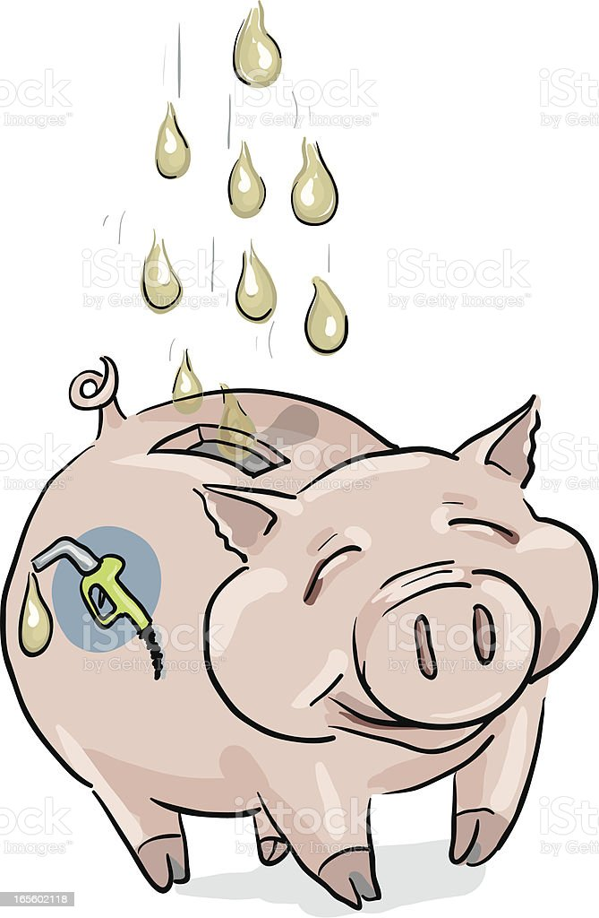 Save Gas - Piggy Bank royalty-free stock vector art