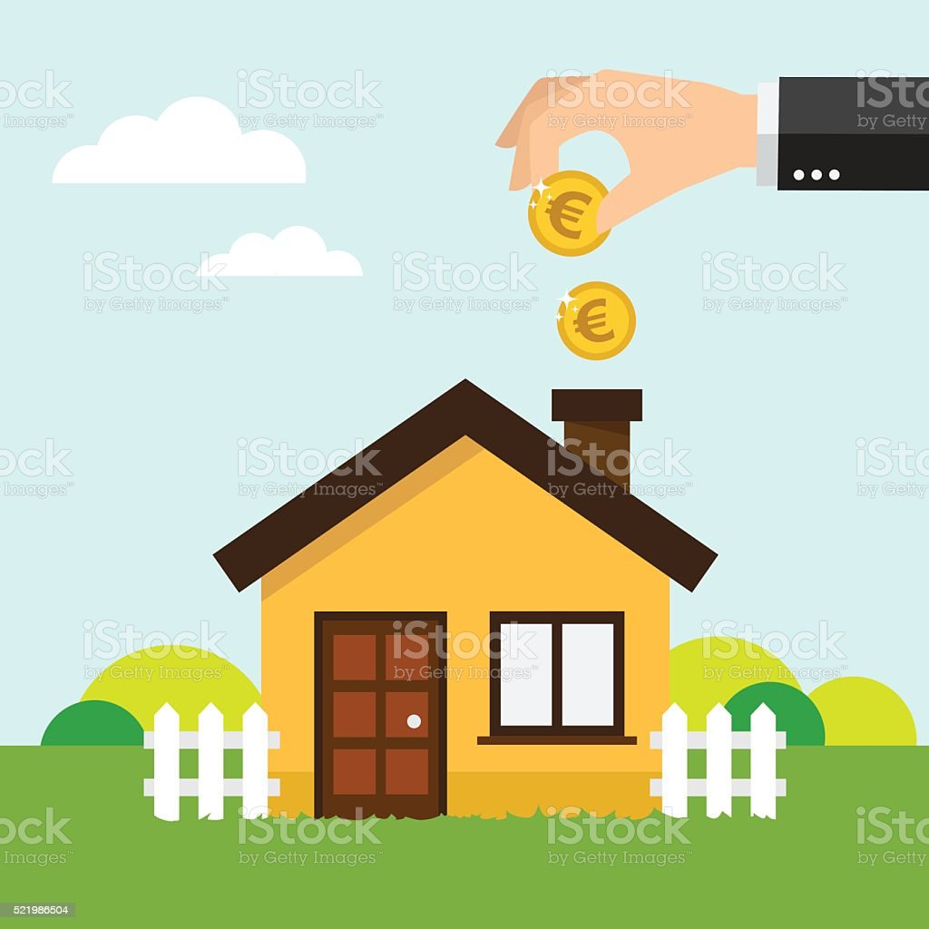 Save money for house vector art illustration