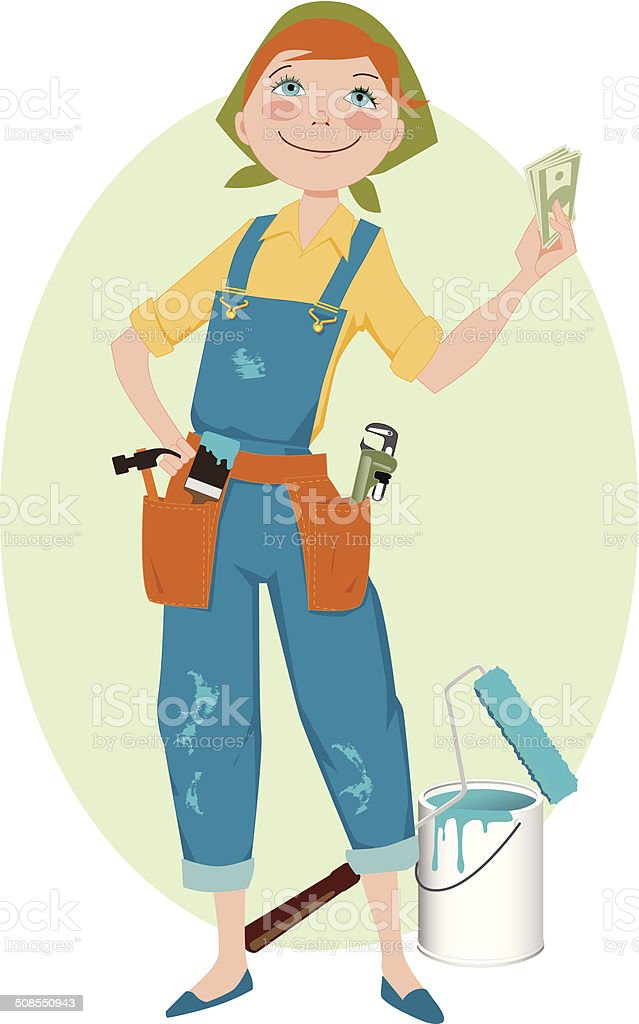 Save money on renovation vector art illustration