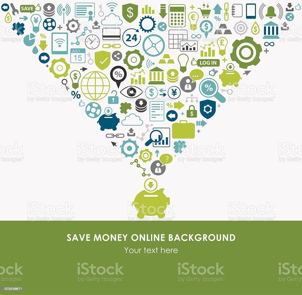 Save Money Online Background vector art illustration