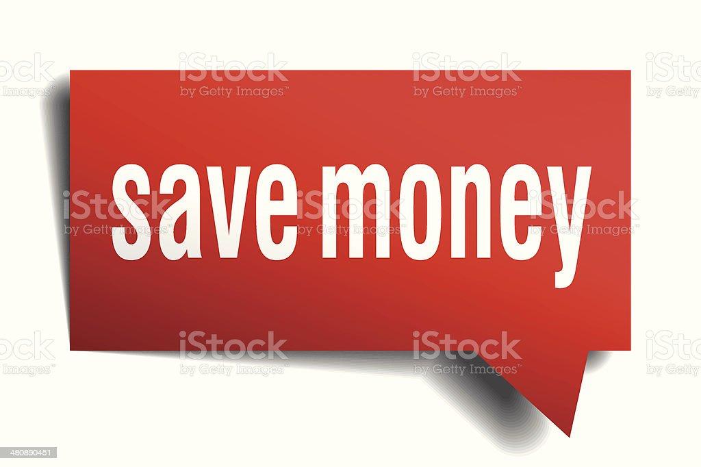 Save money red 3d realistic paper speech bubble vector art illustration