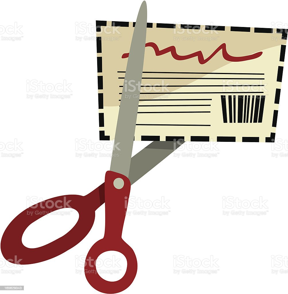 Save Money: Scissors Cutting Out A Coupon, Retro Cartoon Style royalty-free stock vector art