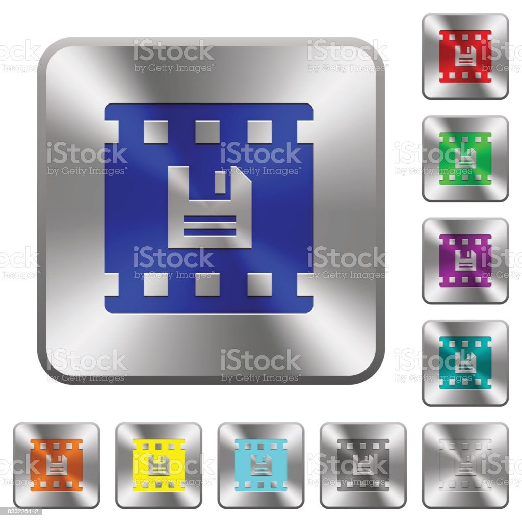 Save movie rounded square steel buttons vector art illustration