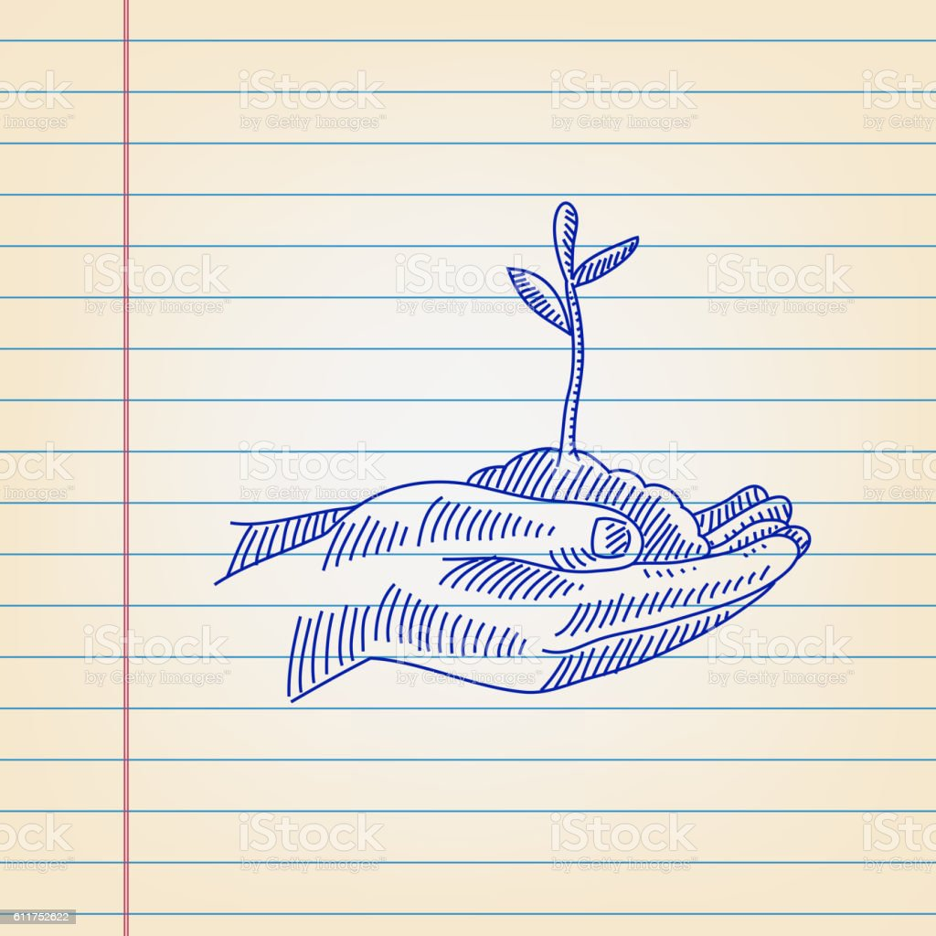 Save Plant concept Drawing on Ruled paper vector art illustration