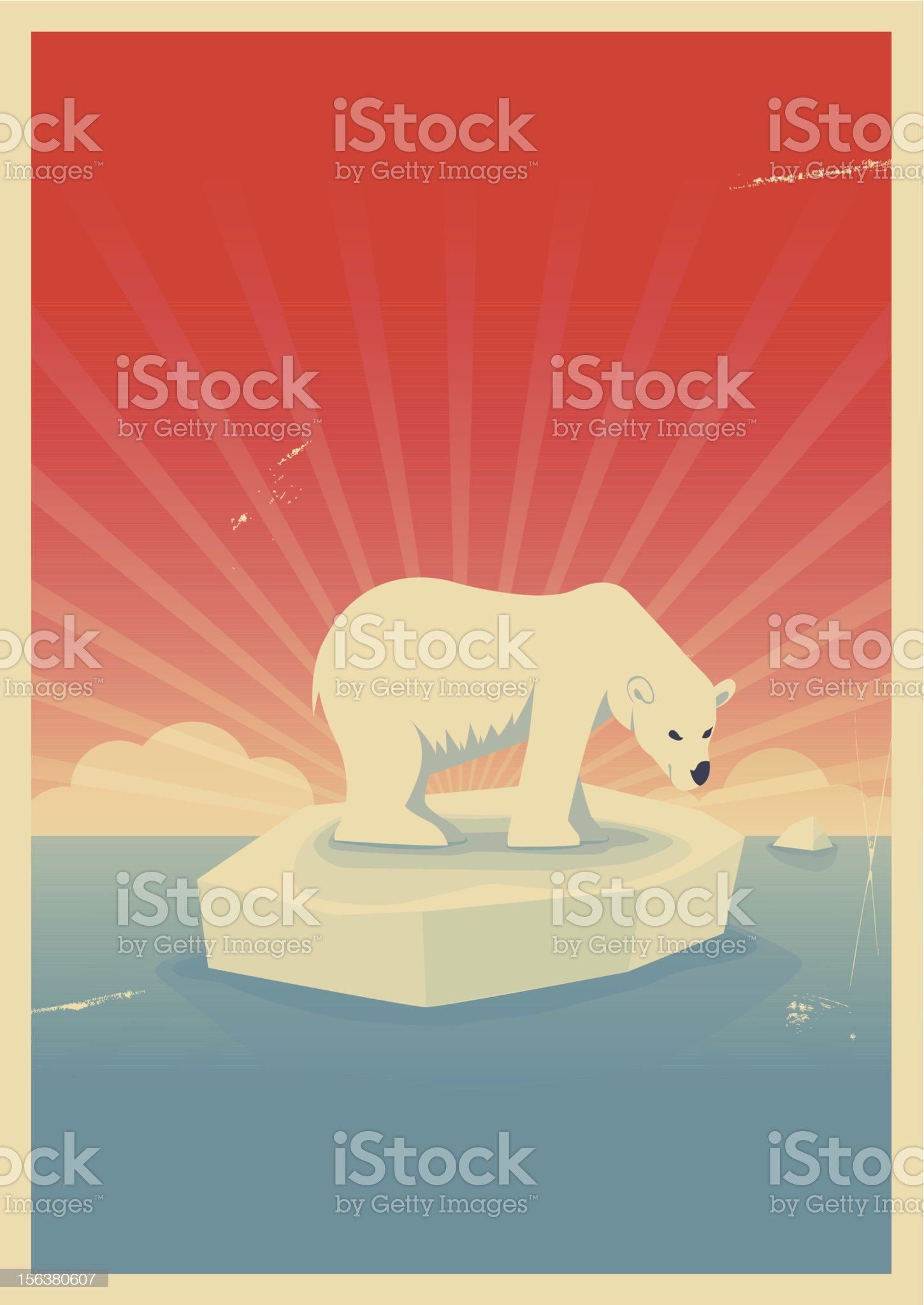 Save polar bear poster royalty-free stock vector art