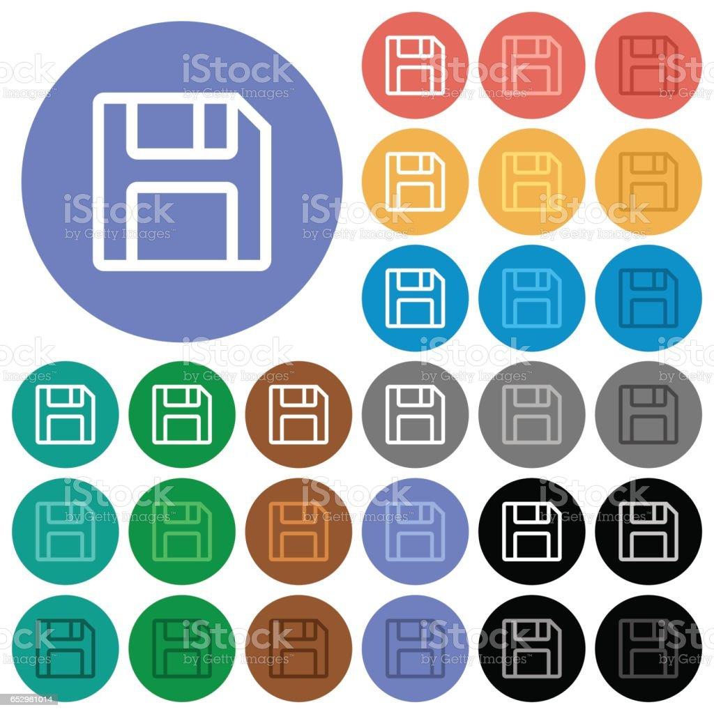 Save symbol round flat multi colored icons vector art illustration
