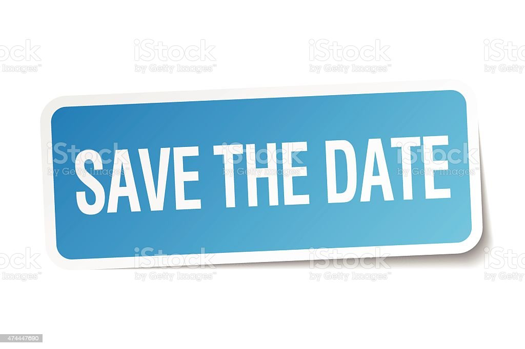save the date blue square sticker isolated on white vector art illustration