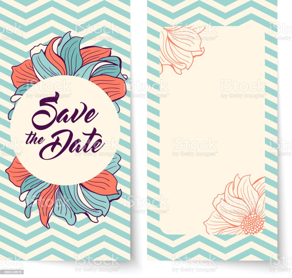Save the Date card. Flowers on chevron background. vector art illustration