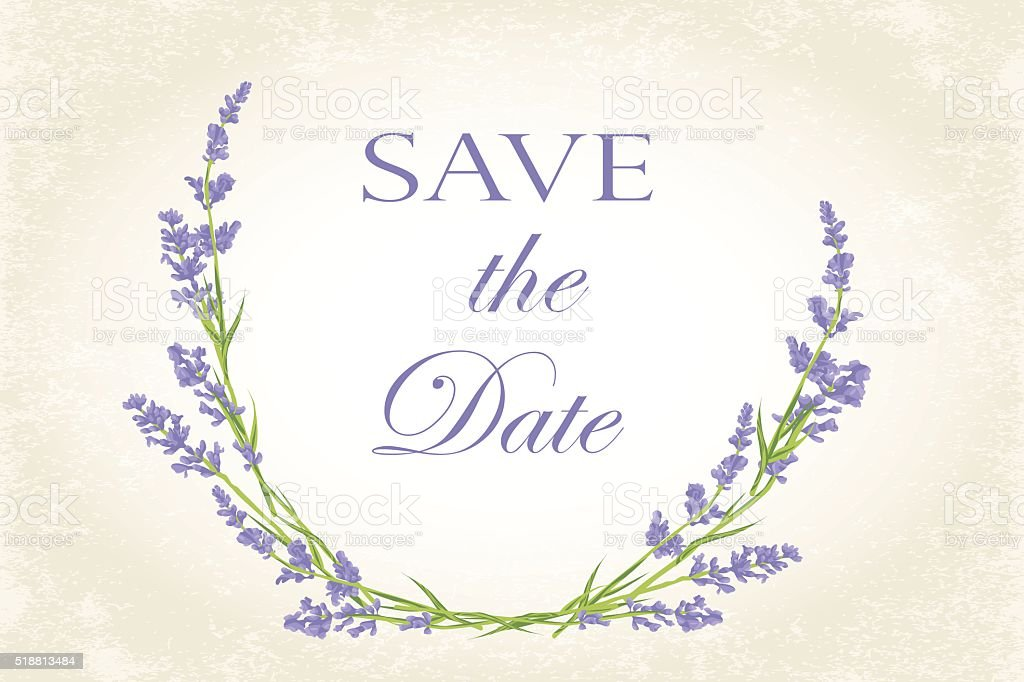 Save the Date card with lavender vector art illustration