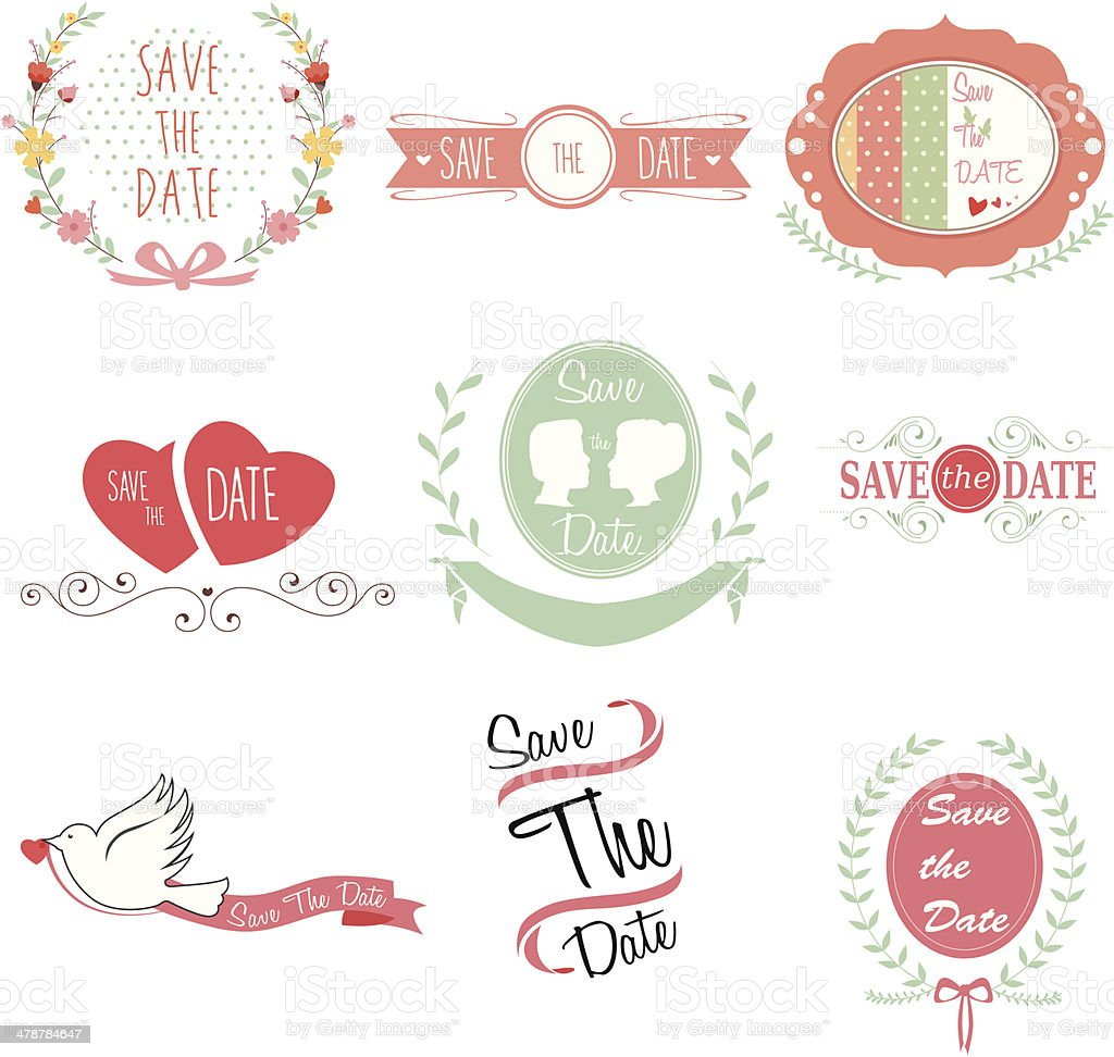 Save the date for wedding royalty-free stock vector art