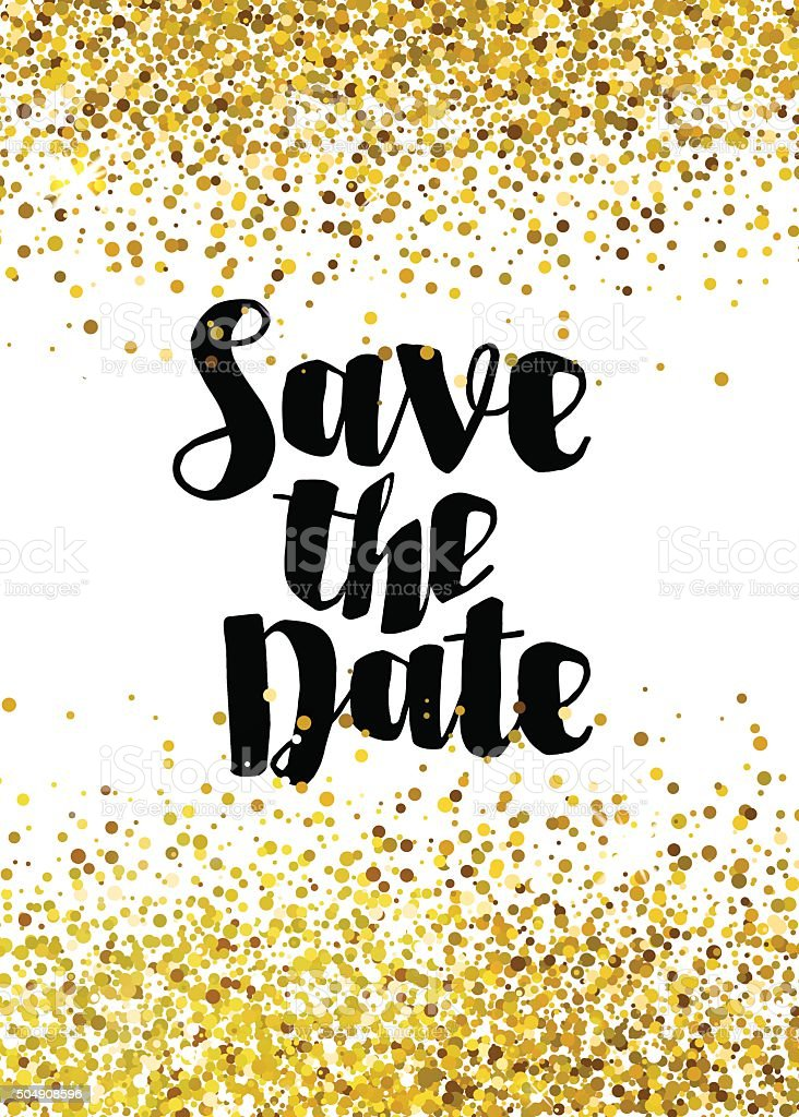 Save the date golden glitter wedding invitation template vector art illustration