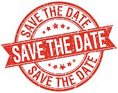 save the date grunge retro red isolated ribbon stamp