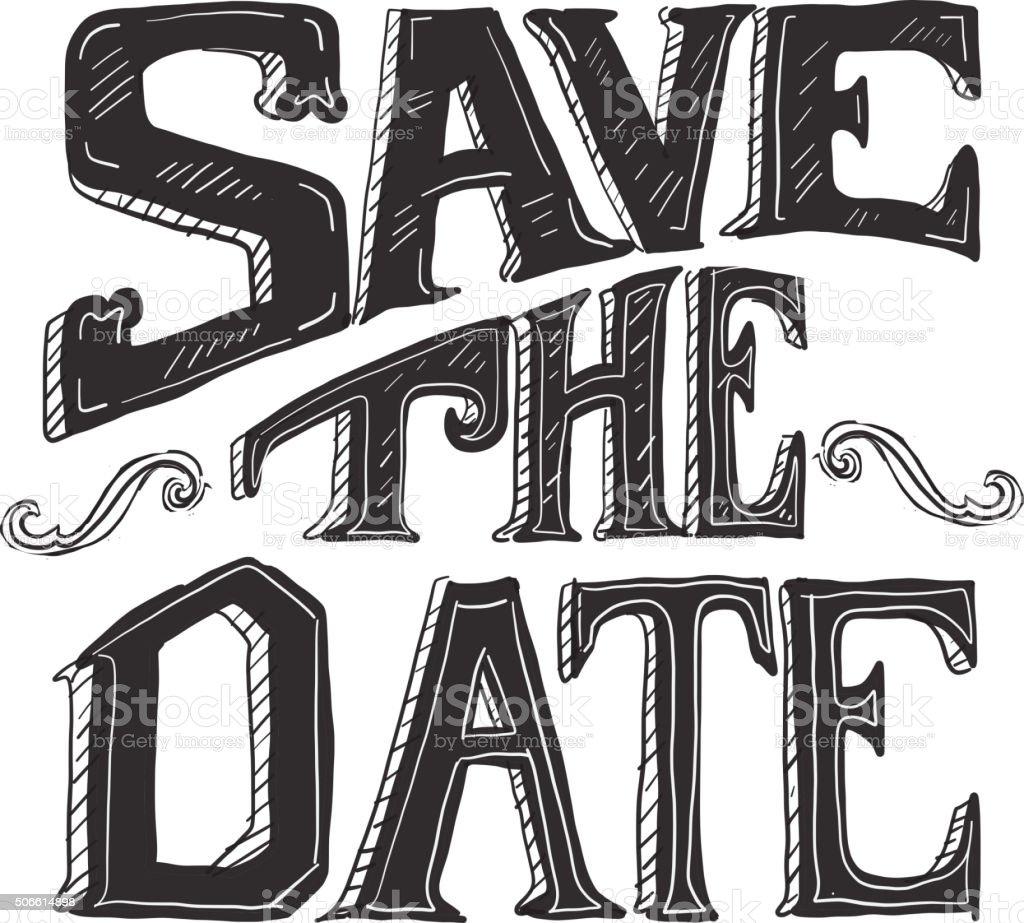 Save the date hand lettering word design vector art illustration