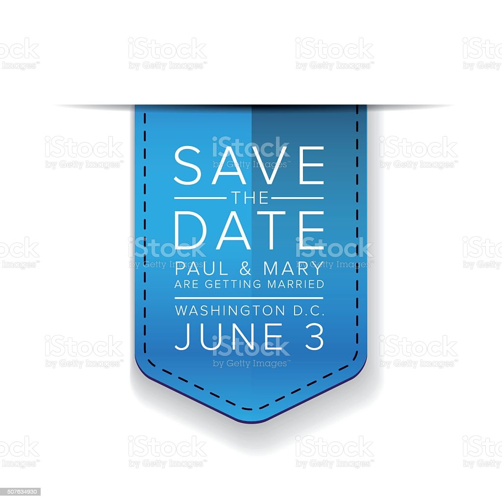 Save the date ribbon vector art illustration