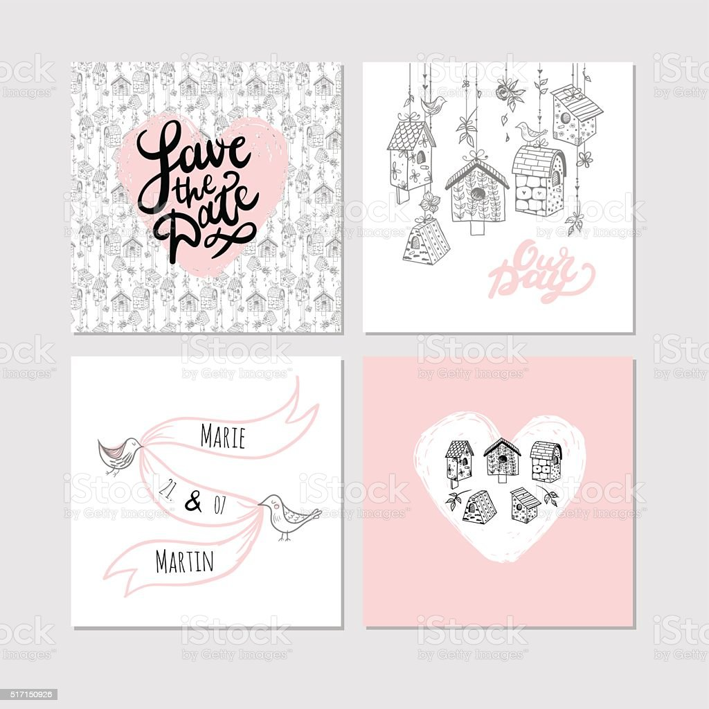 'Save the date' templates with nesting boxes and lettering. vector art illustration