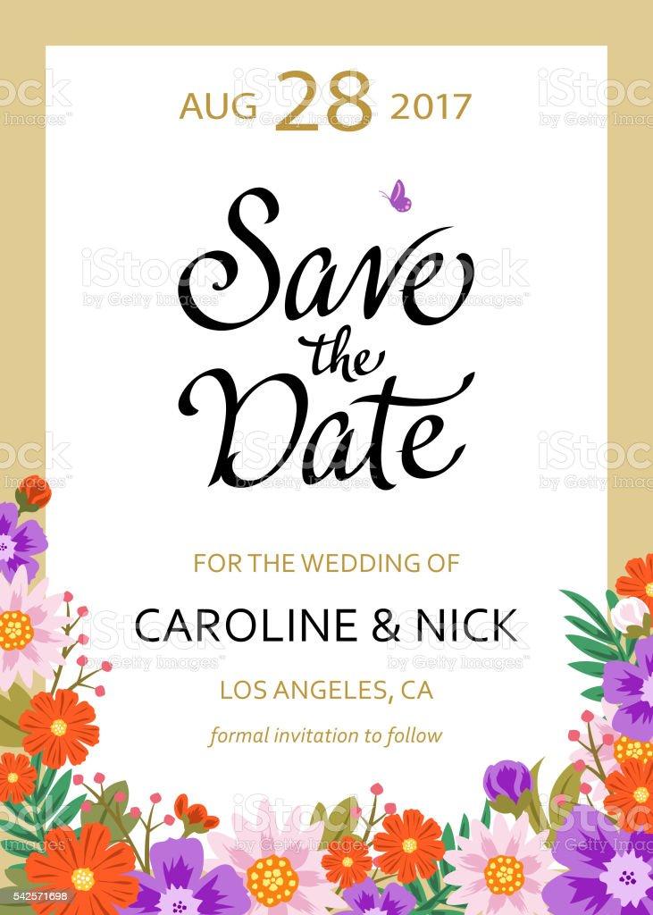 Save the Date Wedding Card vector art illustration