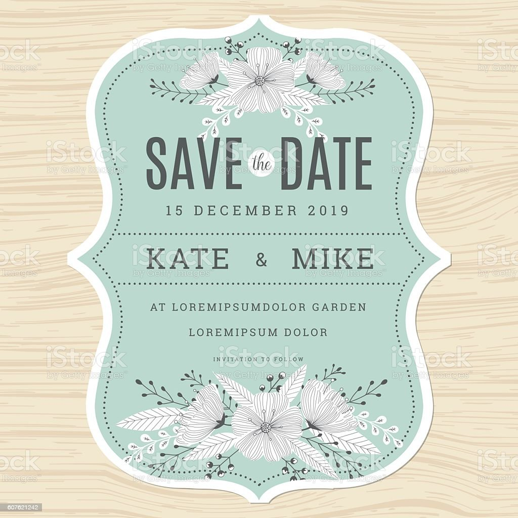 Save The Date, Wedding Invitation Card Template With Flower Background.  Royalty Free Stock