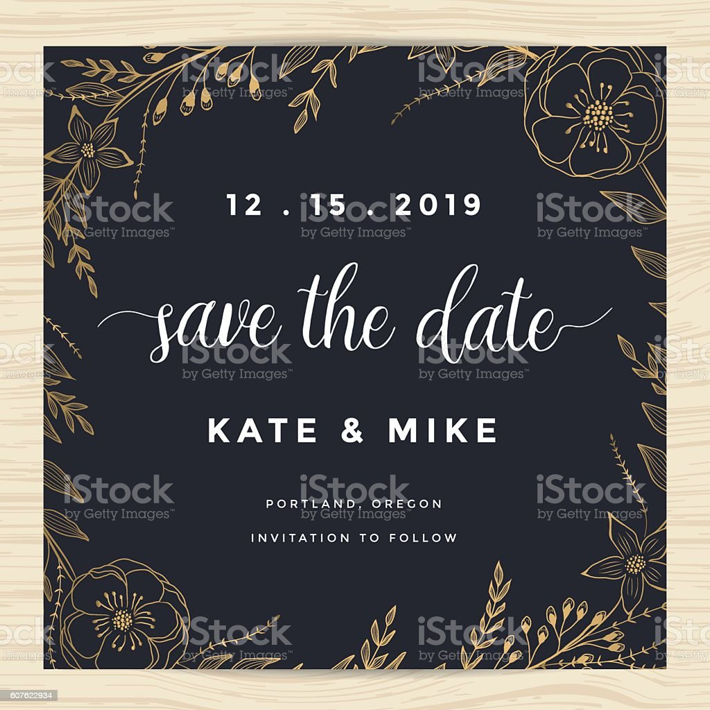 Save the date, wedding invitation card template with flower wreath. vector art illustration