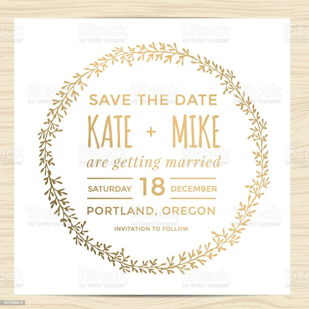 save the date wedding invitation card template with wreath flower stock vector art 607959678
