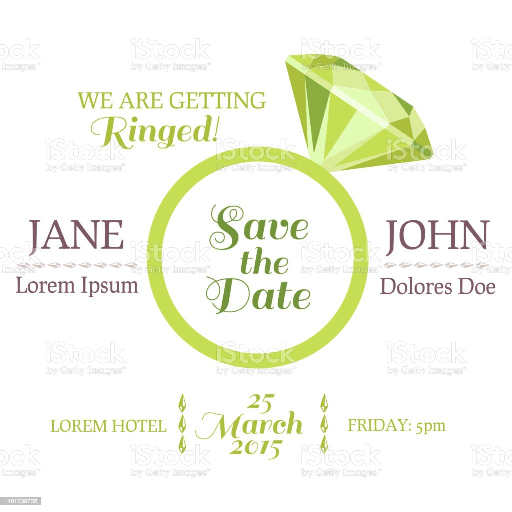Save the Date  - Wedding Invitation Card with Diamond Ring vector art illustration