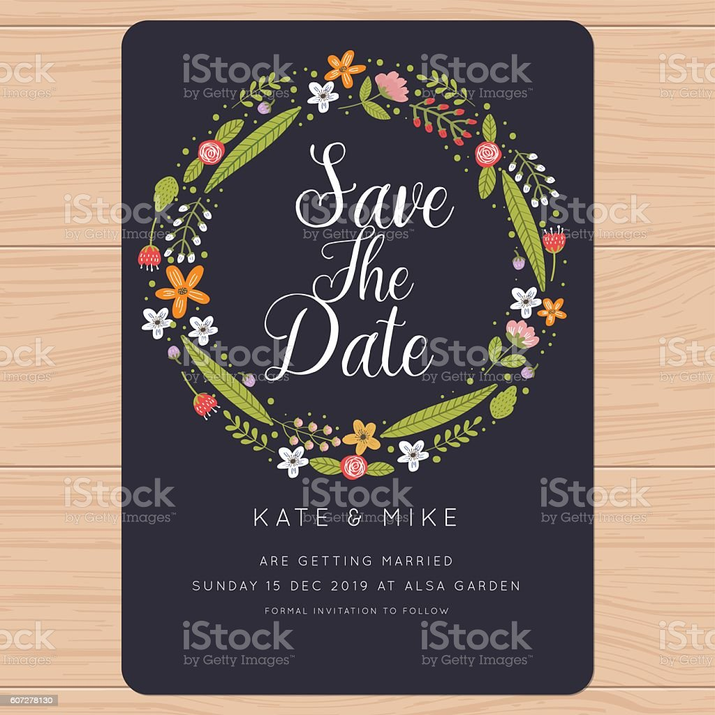 Save the date, wedding invitation card with flower background. vector art illustration