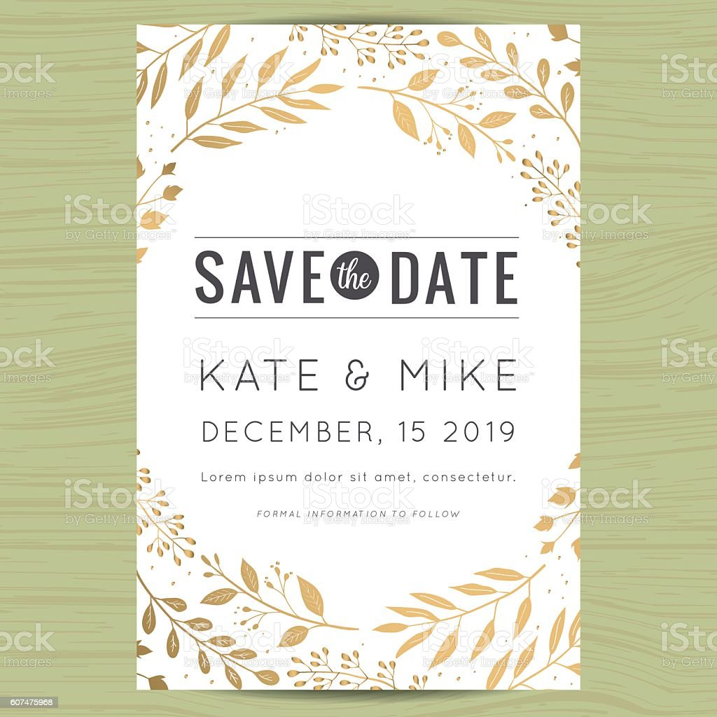 Save the date, wedding invitation card with flower floral background. vector art illustration