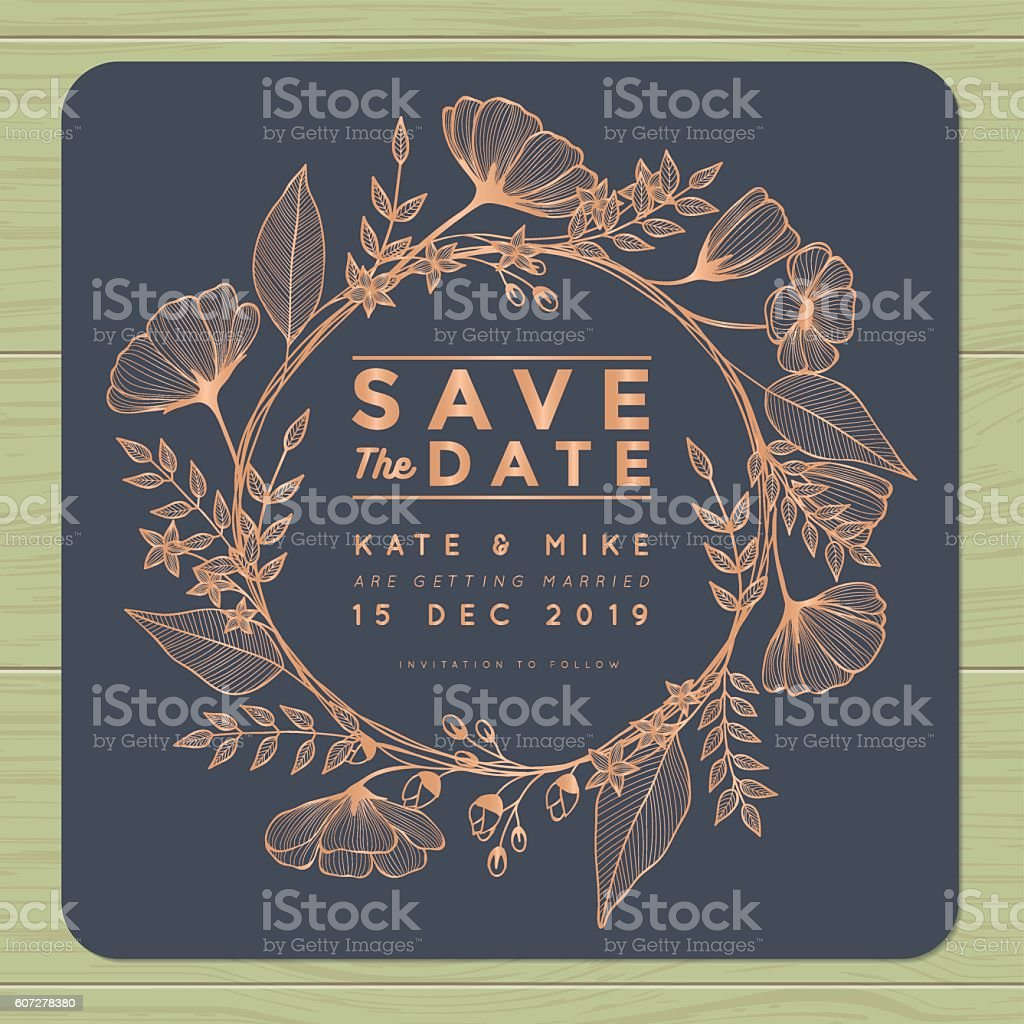 Save the date, wedding invitation card with wreath flower background. vector art illustration