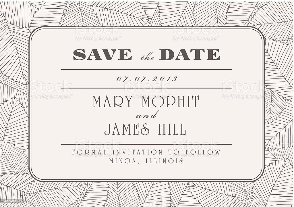 Save the date wedding invitation template with line leaves royalty-free stock vector art