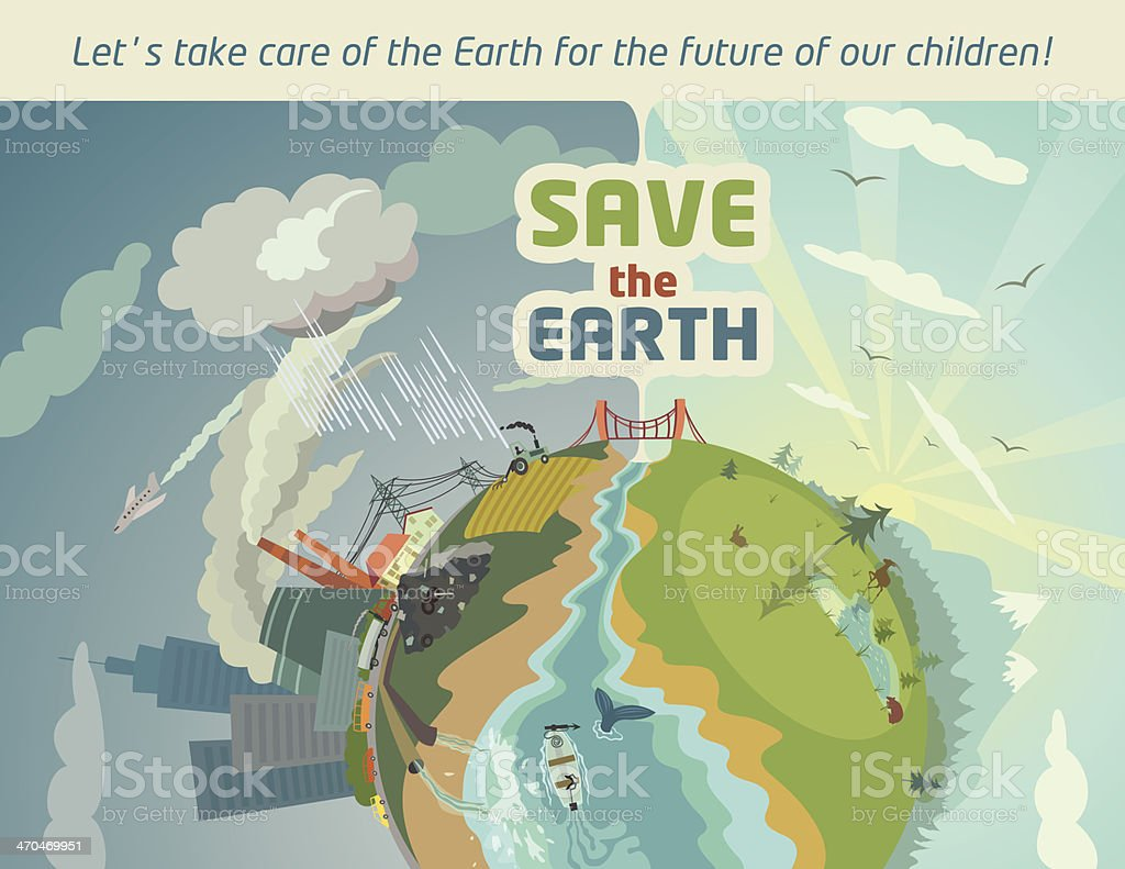 Save the Earth eco poster vector art illustration