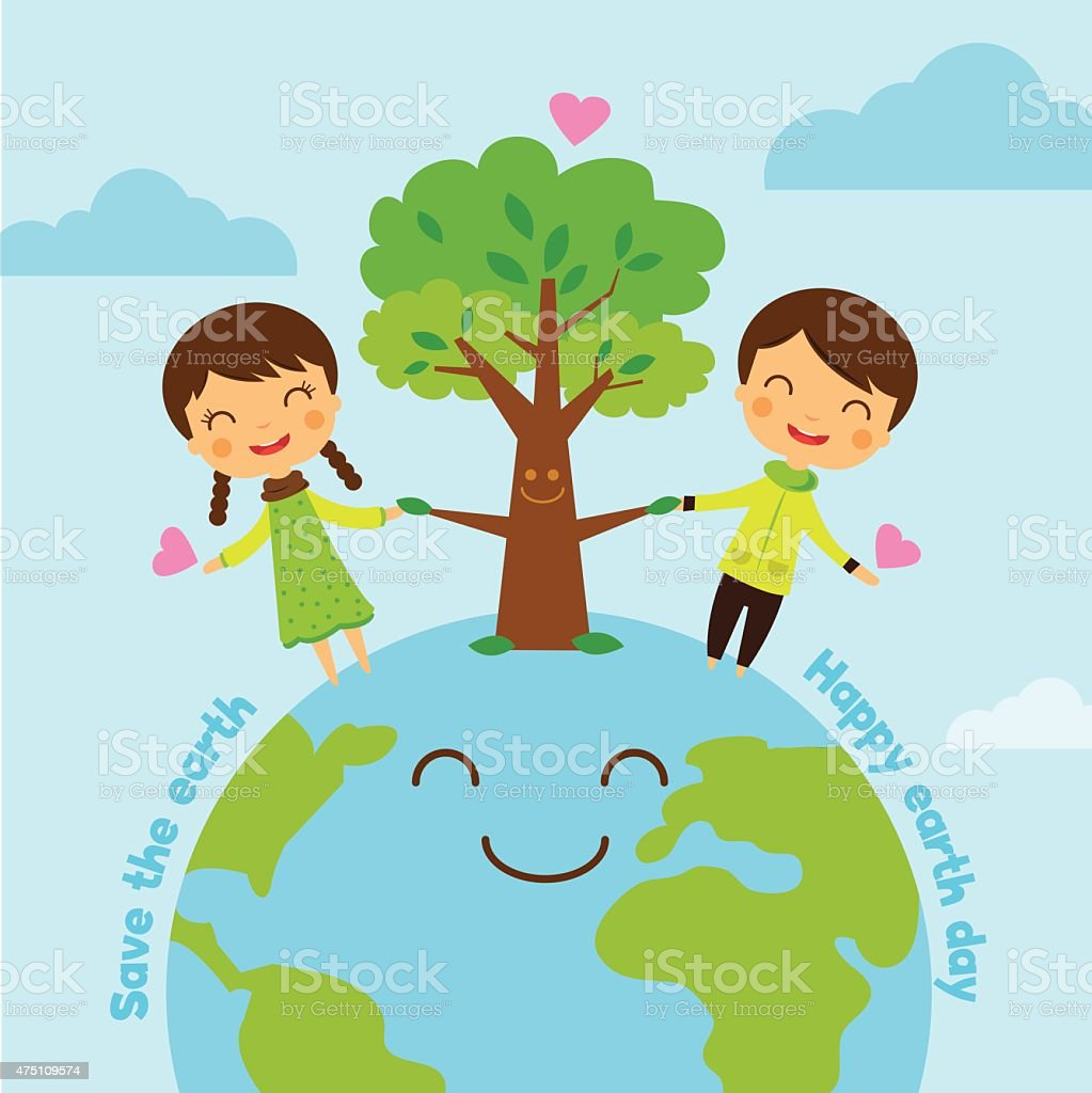 save the earth, save world, save the planet, cartoon boy girl ecology concept royalty-free stock vector art