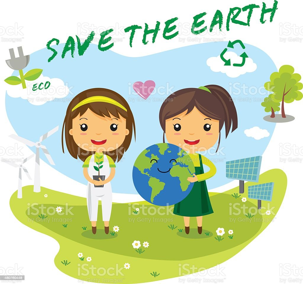 save the earth - save world royalty-free stock vector art