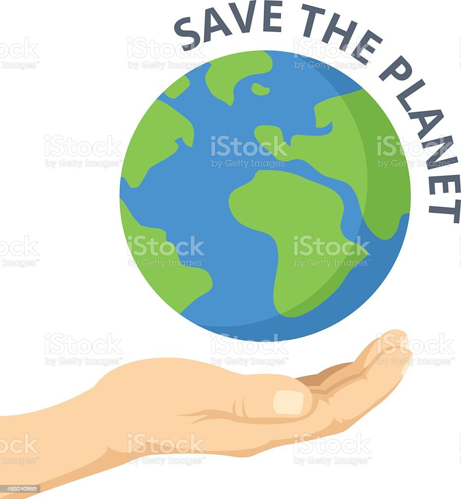 Save the planet. Hand palm and Earth. Vector flat illustration vector art illustration