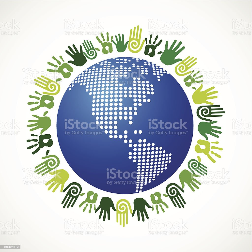Save the planet hands royalty-free stock vector art