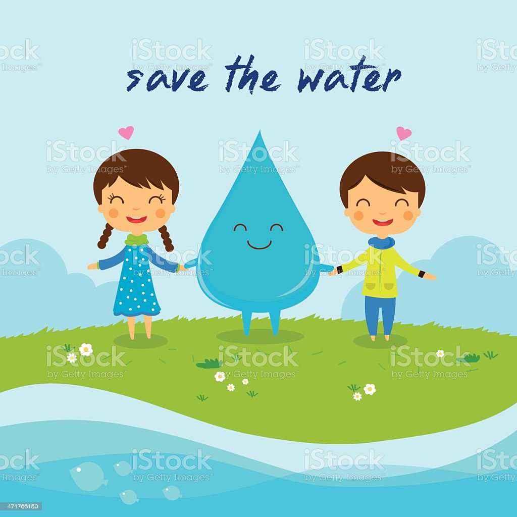 Save the water-Save the world royalty-free stock vector art