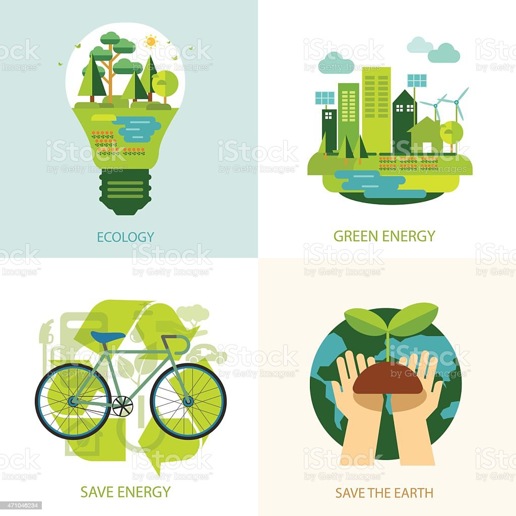 save the world and clean energy concept vector art illustration