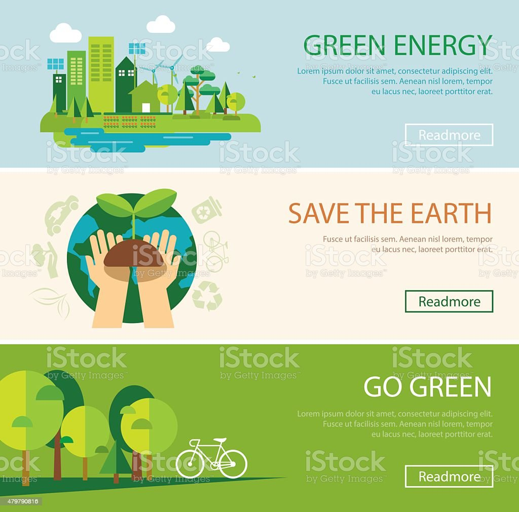 save the world and green energy concept web banner vector art illustration