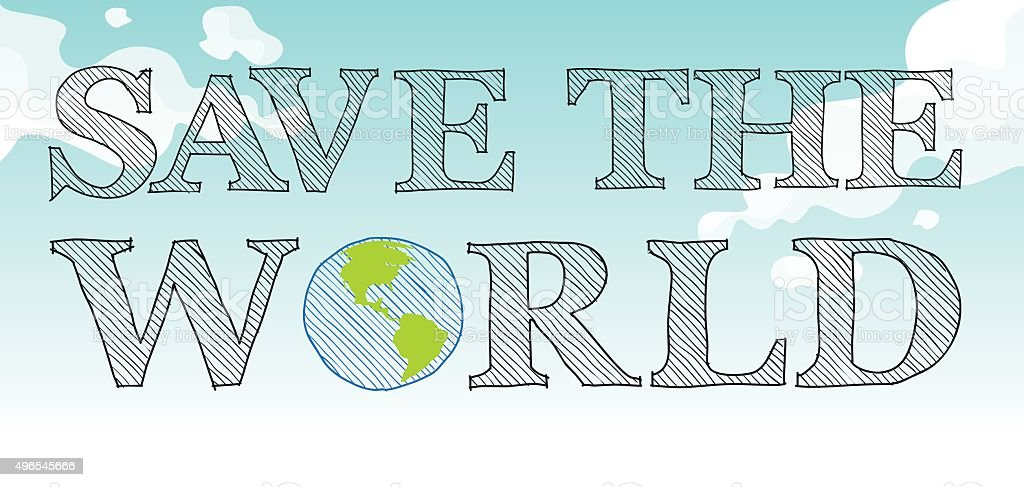 Save the world theme with sky and earth vector art illustration